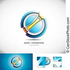 astratto, sfera, logotipo, cerchio, icona, 3d