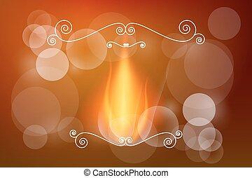 astratto, -, sfocato, fondo., bokeh, vettore, disegno, retro, fiamma, fire.