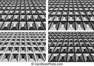 astratto, sfondi, geometrico, set.