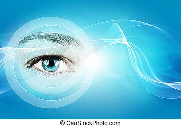 astratto, sfondo blu, con, closeup, di, occhio umano