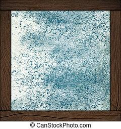 astratto, sfondo blu, con, cornice legno