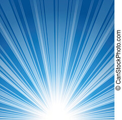 astratto, sfondo blu, con, raggio sole