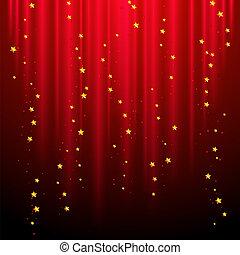 astratto, sfondo rosso, con, riprese, stars.
