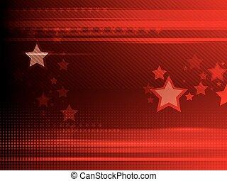 astratto, sfondo rosso, con, stelle