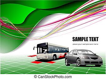 astratto, sfondo verde, con, autobus