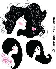 astratto, silhouette, femmina