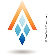 astratto, simbolo, di, lettera, con, diamante, modellato, rettangoli