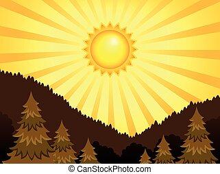 astratto, soleggiato, paesaggio, tema, 2