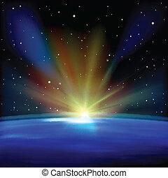 astratto, spazio, fondo, con, stelle