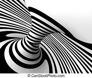 astratto, spirale, fondo, in, nero bianco