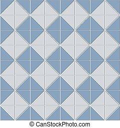 astratto, stanza, ceramica, illustrazione, disegno, geometrico, decorazione, quadrato, blocco, seamless, modello, vettore, consistere, tiles., mosaico, forma., forma, struttura, pavimento, triangolo, blu, bianco, bagno