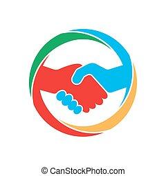 astratto, stretta di mano, illustration., icona