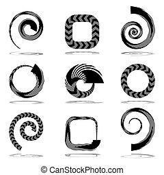 astratto, strisce, icone