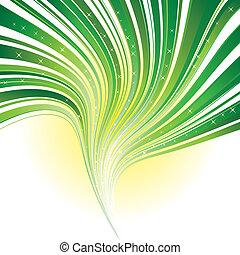 astratto, striscia verde, turbine, fondo, con, stelle