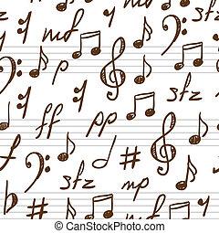 astratto, symbols., musica, seamless, fondo