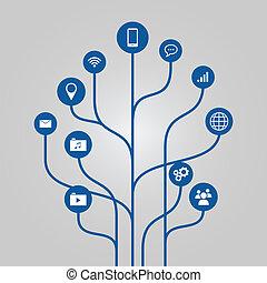 astratto, technoloy, albero