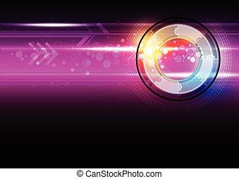 astratto, tecnologia, bottone, digitale