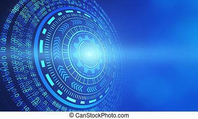 astratto, tecnologia, circles., hud, disegno, isolato, su, futuristico, sfondo blu, 3d, illustrazione