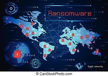 astratto, tecnologia, concetto, cyber, sicurezza, con, ransomware, allarme, avvertimento, su, mappa, mondo, antivirus, malware, e, virus, crimine, su, ciao tecnologia, fondo