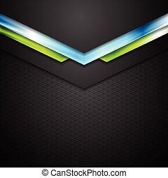 astratto, tecnologia, fondo, con, verde blu, frecce