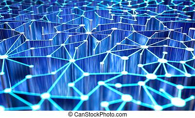 astratto, tecnologia, rete, fondo, 3d