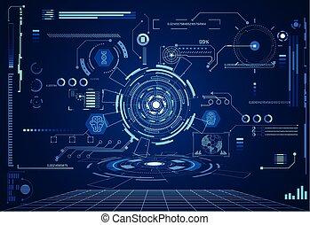 astratto, tecnologia, ui, futuristico, concetto, hud, salute, interfaccia, ologramma, elementi, di, digitale, dati, grafico, cervello, percento, vitalità, innovazione, su, ciao tecnologia, futuro, disegno, fondo