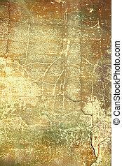 astratto, textured, background:, marrone, e, rosso, modelli, su, giallo, sfondo., per, arte, struttura, grunge, disegno, e, vendemmia, carta, /, bordo, cornice