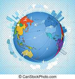 astratto, trasporto, e, ecologia, piano, su, terra