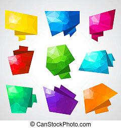 astratto, triangolare, variopinto, fondo., discorso, bolle
