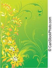 astratto, vegetative, ornamento, su, uno, sfondo verde