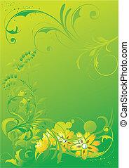 astratto, vegetative, ornamento