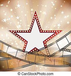 astratto, vendemmia, cinema, fondo, con, stella rossa