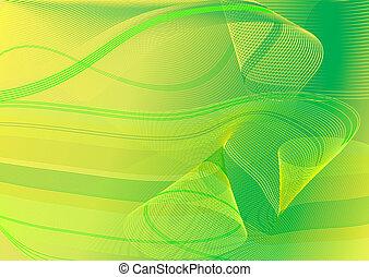 astratto, verde, e, scheda gialla