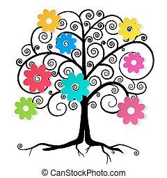 astratto, vettore, albero, fiori, colorito
