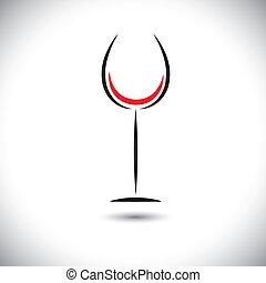 astratto, vettore, art linea, grafico, di, vetro vino,...