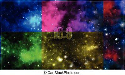 astratto, vettore, cosmico, galassia, fondo, con, nebulosa, stardust, luminoso, lucente, stelle, e, colorare, squares., vettore, illustrazione, per, tuo, design., formato, 16:9.