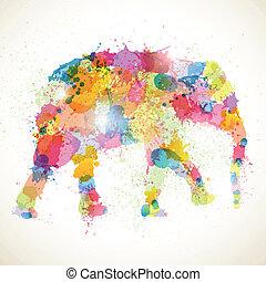 astratto, vettore, elefante