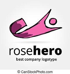 astratto, vettore, eroe super, logotype, concetto, isolato,...