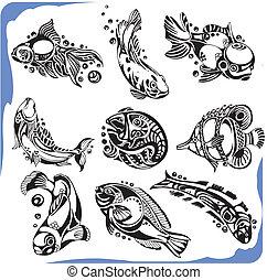 astratto, vettore, -, fish, set.