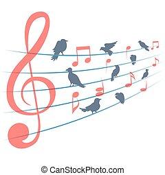 astratto, vettore, fondo, con, note musica, e, uccelli