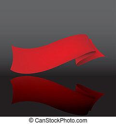 astratto, vettore, fondo, con, uno, nastro rosso