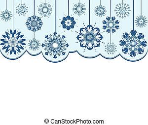astratto, vettore, fondo, fiocchi neve, illustrazione