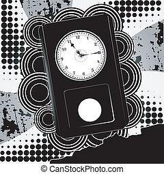astratto, vettore, fondo, illustrazione, orologio