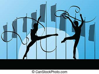 astratto, vettore, ginnastica, adolescente, fondo, nastro