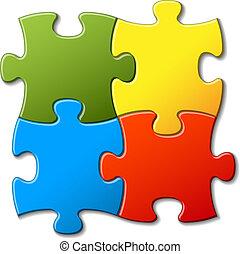 astratto, vettore, puzzle, fondo