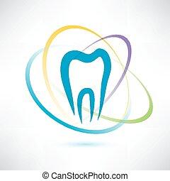 astratto, vettore, simbolo, protezione, dente