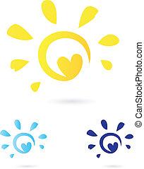 astratto, vettore, sole, icona, con, cuore, -, giallo, &, blu