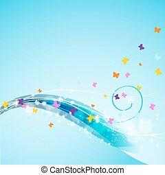astratto, volare, farfalle, fondo, fluente