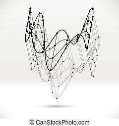 astratto, wireframe, forma, collegato, struttura, 3d