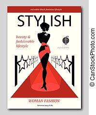 astratto, womanon, uno, moquette rossa, con, stars., lusso, moda, rivista, coperchio, disegno